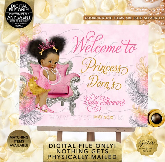 Pink Gold & Silver Baby Shower Welcome Sign / Printable Decorations Baby Girl African American Afro Puffs Pink Tiara High Top Sneakers