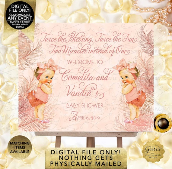 Rose Gold Decorations/ Welcome Baby Shower/ Vintage Theme/ Big Bow 80's Party/ Twin Girls | Digital File Only! JPG + PDF By Gvites