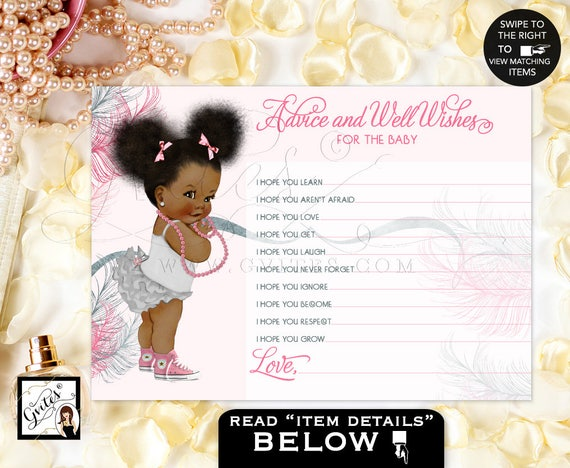 Advice Cards Wishes For Baby Pink & Silver African American Baby Girl Afro Puffs Silver Pink Baby Shower. 5x7 2 Per Sheet.