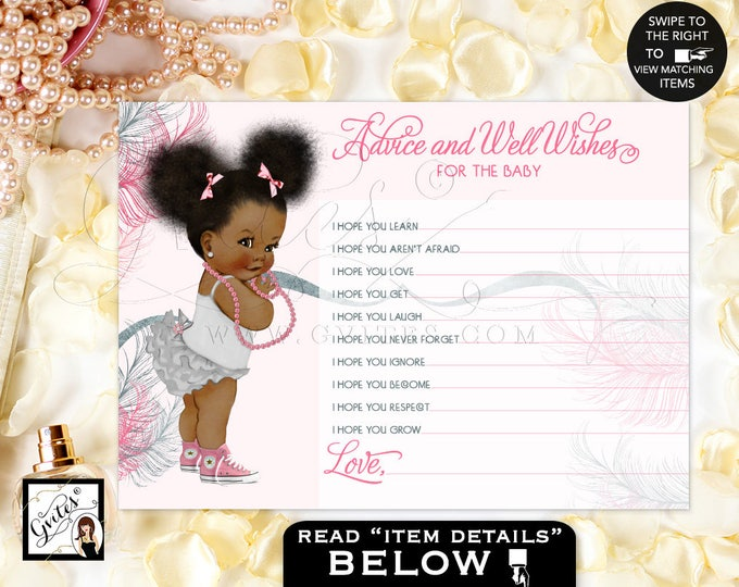 Advice Cards Wishes For Baby Pink & Silver African American Baby Girl Afro Puffs Silver Pink Baby Shower. 5x7/2 Per Sheet. #RBNAPU005