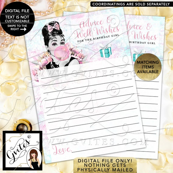 """Advice Cards For Birthday Girl Audrey Hepburn Caucasian Party Games. Digital File PDF + JPG, 5x7""""/2 Per Sheet {Instant Download}"""