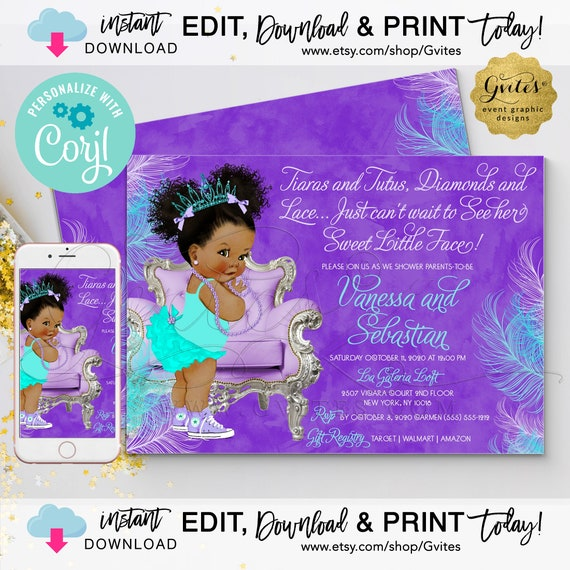 "Lavender & Turquoise Baby Shower Invitation Dark/Puffs Curly | Tiaras Tutus Diamond Lace 7x5"" Double Sided {Edit YOURSELF with Corjl}"