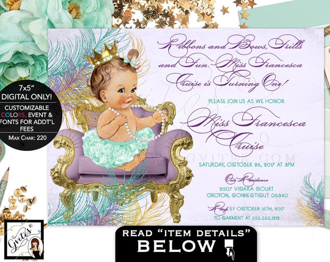 Purple and Mint Gold Baby Birthday Printable Invitation, Vintage Baby Girl, Princess Ribbons and Bows Frills and Fun, DIY, Digital Gvites