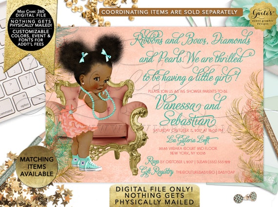 Coral Gold and Mint Baby Shower Invitations Afro Puffs | Vintage/ Ethnic baby invitation bows diamonds pearls