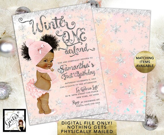 "Winter Onederland Invitations Afro Puffs Curly - Blush Pink and Silver Watercolor Digital Background Silver Snow Flakes. 5x7"" Double Sided."