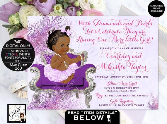 "Lavender and pink baby shower invitation, BABY SPRINKLE purple lavender silver baby girl, diamonds pearls, DIGITAL 7x5"" Gvites"