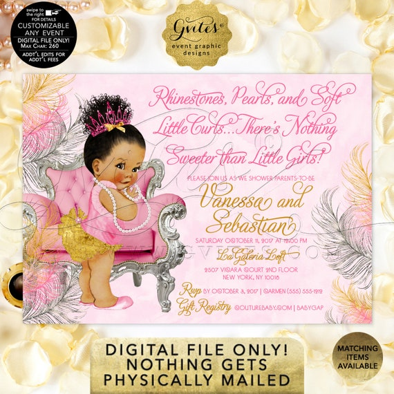Princess Baby Shower Invitation Pink Fuchsia Silver/ Vintage Baby Wearing Slippers/ Vintage Girl 3 Skin Tones Crown Pearl Necklace