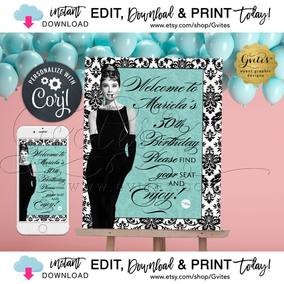 Welcome 50th Birthday Sign / Audrey Hepburn Breakfast Classic Theme / Blue Little Black Dress. Instant Download! {Can print: 16x20 + 8x10}