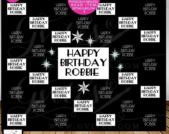 Happy Birthday Step & Repeat Backdrop, Black and White Hollywood Red Carpet Banner Poster Photo Booth, Printable, Digital, DIY, Gvites