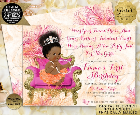 "Coral Baby Shower Printable Invitations | 7x5"" Double Sided JPG + PDF 