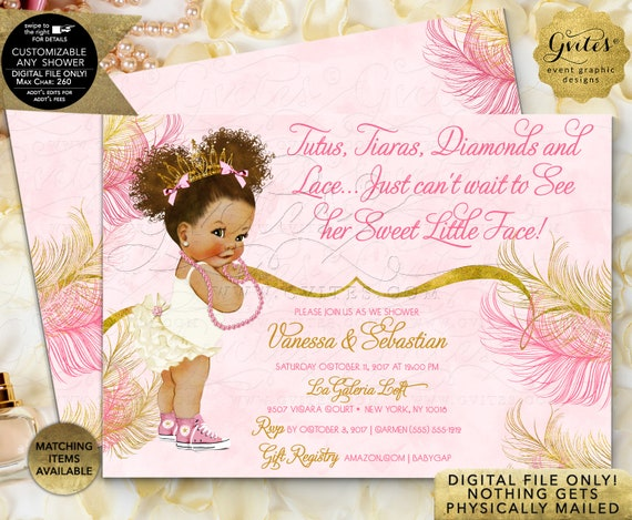 Pink Gold baby shower invitations Princess African American Tutus Tiaras diamonds pearls | JPG + PDF Design: TIACE-104 By Gvites