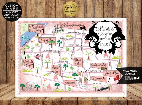 Summer Wedding Maps/ Custom Graphic Printable Wedding Map/ Welcome To Our Wedding Personalized Map/ Florida Beach Wedding Map