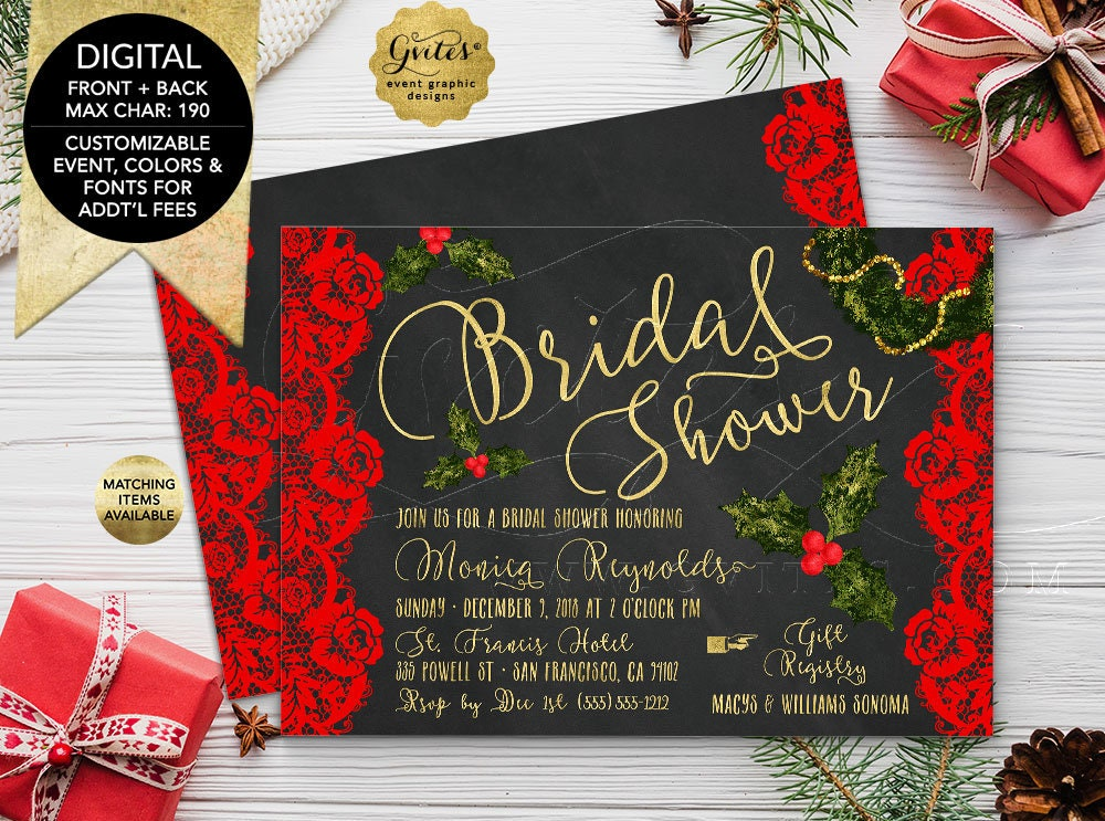 bridal shower printable invitation christmas themed with red floral vintage lace and chalk background holiday invites 7x5 double sided