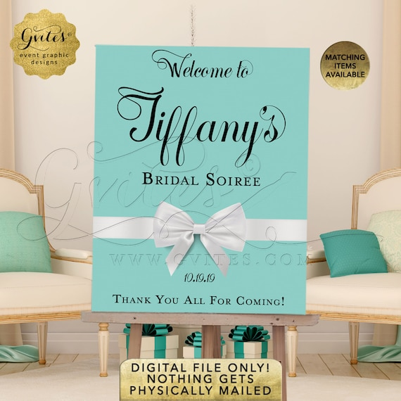 Welcome Bridal Shower Sign/ Soiree Decor Turquoise Blue/ Robin Egg/ Aqua/ Teal Decorations/ Poster For Easel/ You Print! {Any Event}