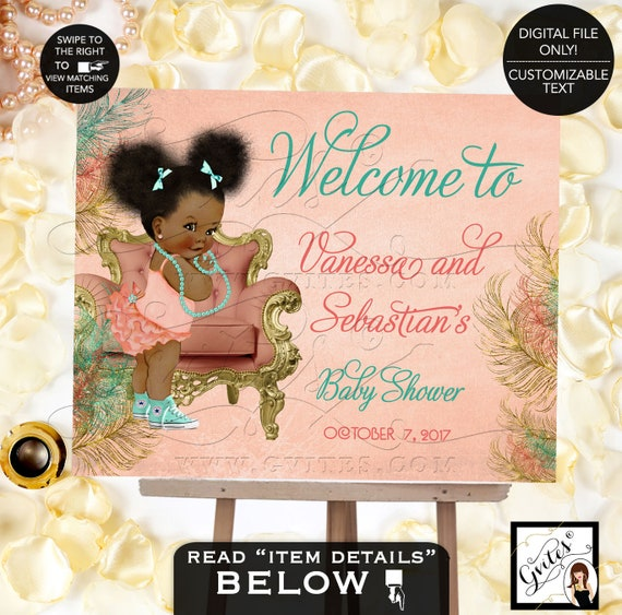 Welcome Baby Shower Signs/ Mint and Coral Decorations Afro Puffs African American diamonds pearls. DIGITAL FILE! Gvites