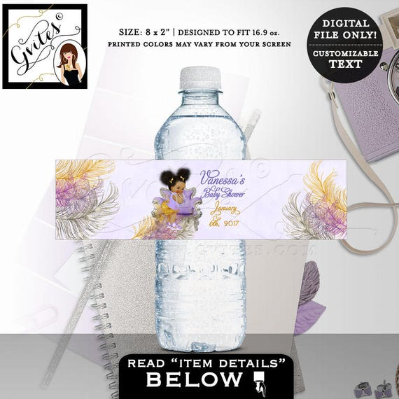 Purple & Gold Water bottle labels/ Ethnic baby Invitations Princess Vintage Baby Girl Lavender Silver Sneakers African American/ PRINTABLE