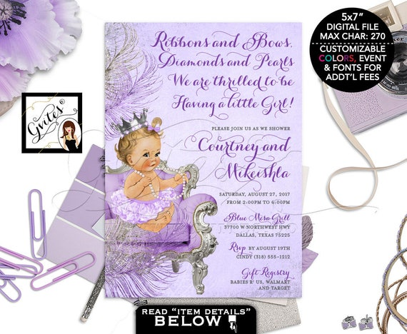 Lavender Silver and purple baby shower invitation/ princess baby girl/ purple silver invites/ DIGITAL 5x7 Gvites #WCSCLPS1