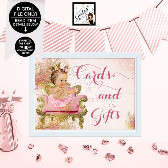 Cards and Gifts Sign, Blush Pink Gold Royal Princess Baby Shower, Vintage Girl Diamonds Pearls, 4x6, 5x7 or 8x10   Design: CWCHS-101