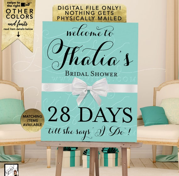 Days Till She Says I Do Countdown Poster Sign | Breakfast themed | Printable Digital File, JPG + PDF Format