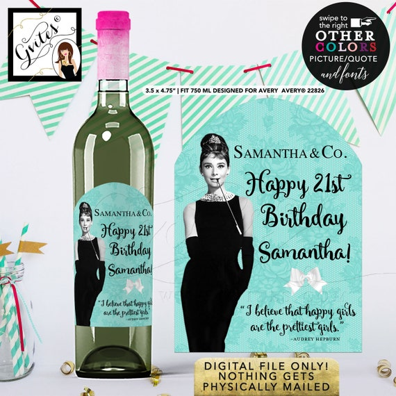 Breakfast at Audrey Hepburn Happy Birthday Wine LABELS bottle label/ sticker. {Designed For Avery® 22826} PRINTABLE