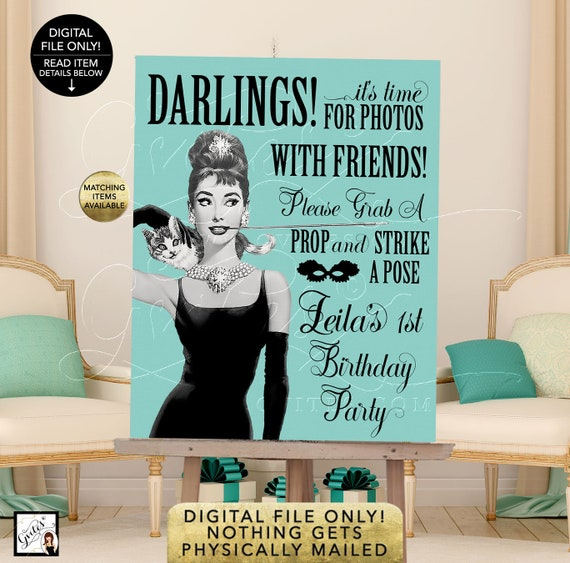 Audrey Hepburn Photo Booth Sign, 1st Baby Birthday Decorations, Decor, Breakfast at Co Theme, Vintage, Diamonds Pearls