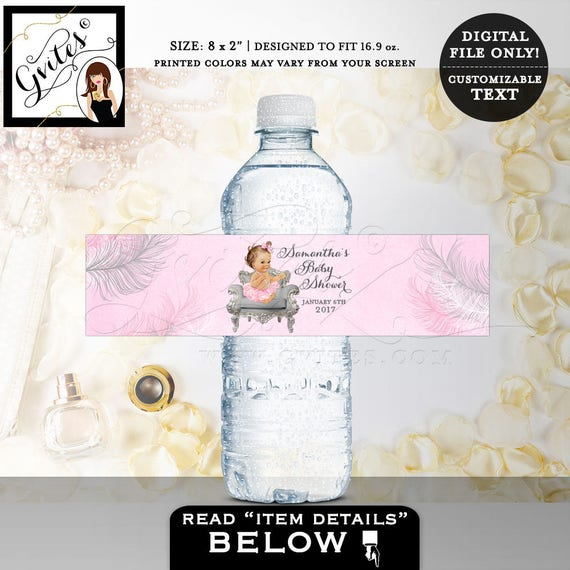 """Pink & Silver Water Labels/ Baby shower/ diamonds pearls/ favor gifts/ vintage baby girl party stickers 8x2"""" {Feathers: Silver/ White/ Pink}"""