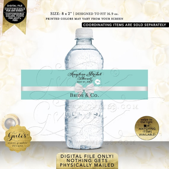 Water Bottle Labels Bride & Co Bridal Shower Turquoise Blue/ Aqua/ Robbin Egg Blue. Printable/ Customizable/ DIY/ Digital File Only!