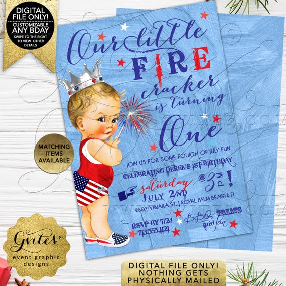 Prince Baby Shower/ First Birthday 4th of July invitations Baby Boy | Printable Digital JPG + PDF | Summer By Gvites