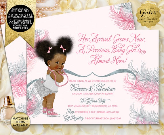 Pink and Silver baby shower invitation/ Printable invites/ Afro Puffs African American baby girl gray pink double sided.