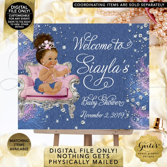Denim Diamonds & Pearls Baby Shower Printable Welcome Sign.