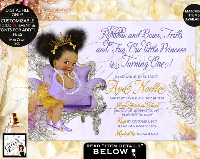 First Birthday African American baby girl invitations, lavender purple gold silver, ethnic, bows diamonds pearls. Afro Puffs Gvites