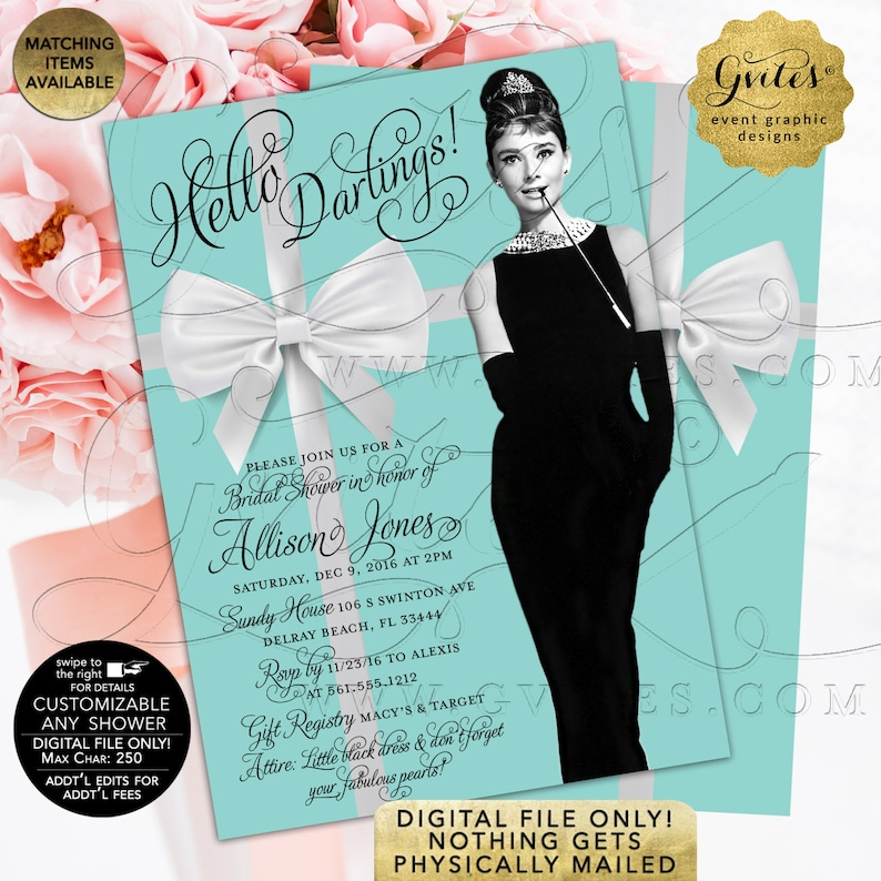 58b1230c41 Breakfast Bridal Shower Invitations Custom Audrey Hepburn | Etsy