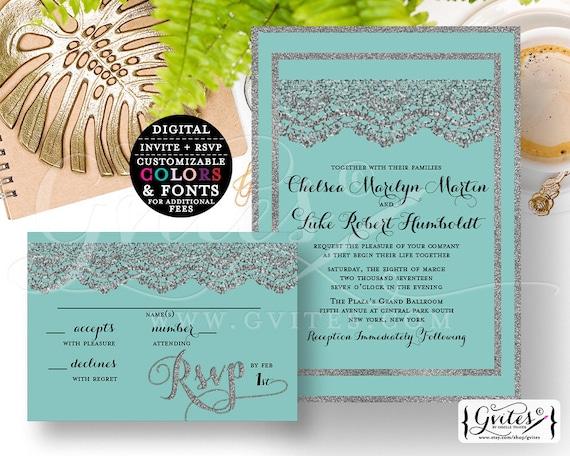 "Silver Wedding Invitation Printable Set, Robbins Egg and Lace Digital Customizable Invites, Modern Elegant Invite {Invite 5x7"" RSVP 5x3.5""}"