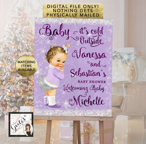 Baby Shower Welcome Sign Lavender and Silver