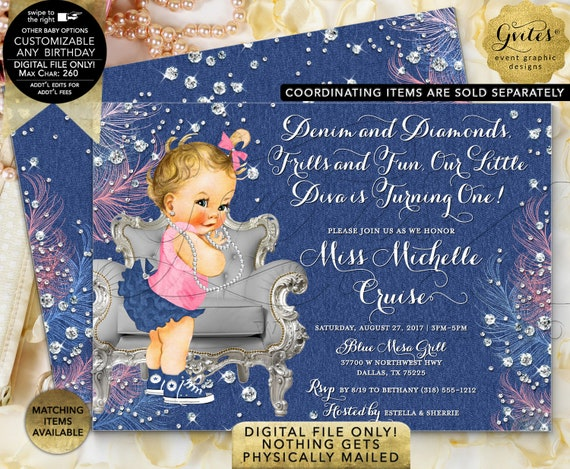 "1st Birthday Denim & Diamonds Invitation | Printable/Digital File Only! JPG + PDF Format | 7x5"" Double Sided 