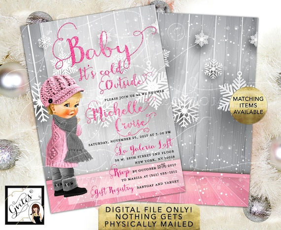Baby It's Cold Outside Baby Shower Invitation / Winter Theme/Gray Silver and Pink/ Vintage Baby Scarf & Hat | Printable/Digital JPG + PDF