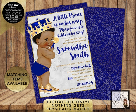 Royal Blue & Gold Prince Baby Shower Invitation | Printable/Digital File Only! JPG + PDF Format | Double Sided 5x7"