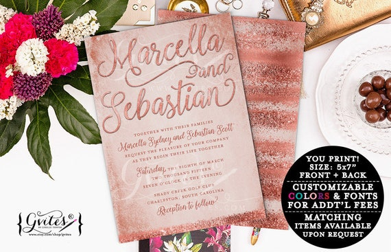 "Rose Gold Wedding Invitation/Copper Blush Pink/Personalized Digital File. 5x7"" Double Sided."