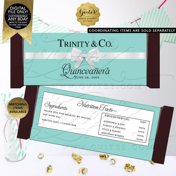 "Quinceañera Candy Bar Wrappers | Personalized Party Favors Thank You| Printable Digital PDF + JPG | 5.25x5.75""/2 Per Sheet {Satin Ribbon}"