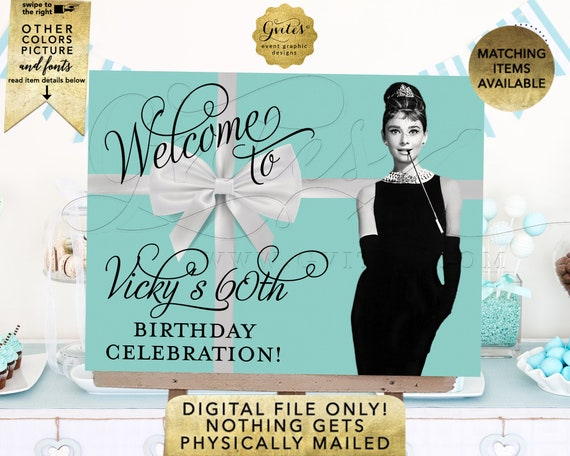 60th Birthday Banner Printable. Welcome Poster Audrey Hepburn Breakfast Themed. Customizable Any Event! Digital File Only! JPG + PDF.