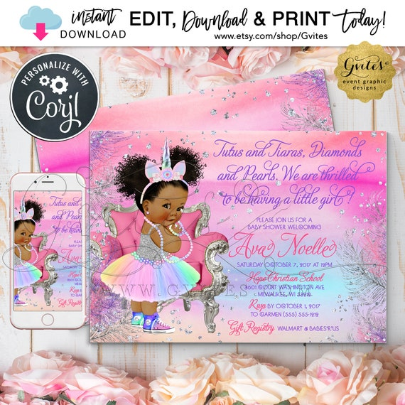 """Unicorn Silver Baby Shower Invitation 