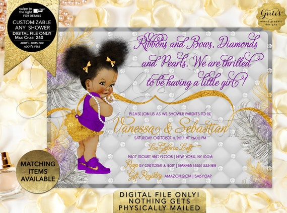 Purple silver and gold, Baby Shower Princess Invitation, African American ethnic baby, bows diamonds pearls, glitz glam. Afro Puffs. Gvites