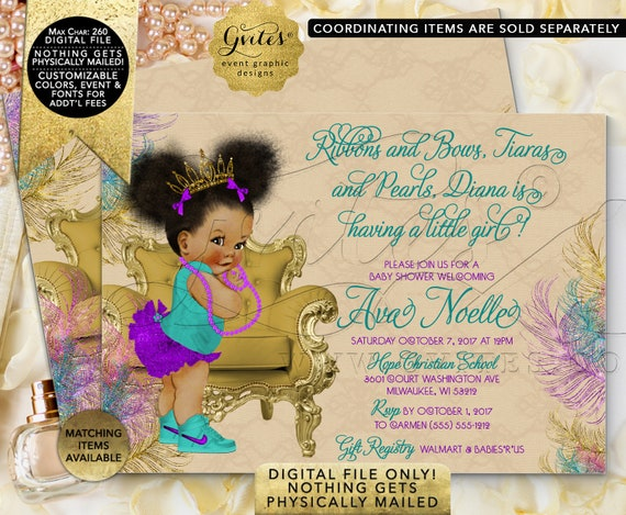 "Teal Purple and Gold Baby Shower Invitation | Afro Puffs Princess Gold Tiara | Peacock Beige/ Printable Double Sided 7x5"" Gvites"