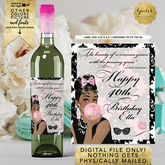 Audrey Hepburn Wine Labels Personalized For Party Favors | Happy 40th Birthday Wine Labels | Digital File JPG + PDF Format | By Gvites
