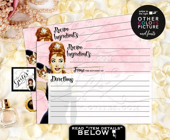 Audrey Hepburn Recipe Card Bridal Shower Breakfast Party Customizable Pic/colors/fonts. PRINTABLE, Digital File 7x5 {Watercolor Blush Pink}