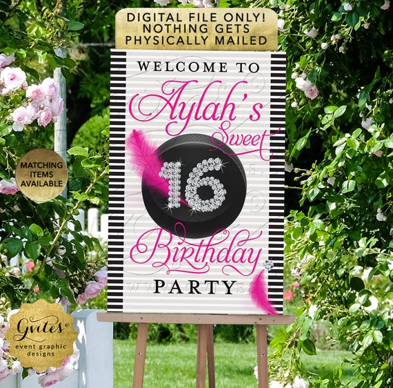 Sport's Theme Sweet 16 Welcome Printable Sign Pink Black Pink | Hockey Puck Theme | Teen Birthday Girl Party Printable