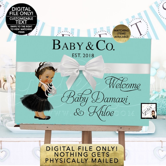 Breakfast inspired Baby and Co Banners for Baby Shower or Birthday/ African American Princess/ Diamonds and Pearls/ Printable JPG+PDF