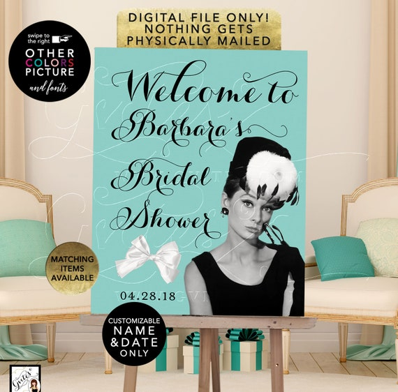 Welcome Bridal Shower Audrey Hepburn, Personalized Poster Signs. Printable File Only! JPG + PDF.