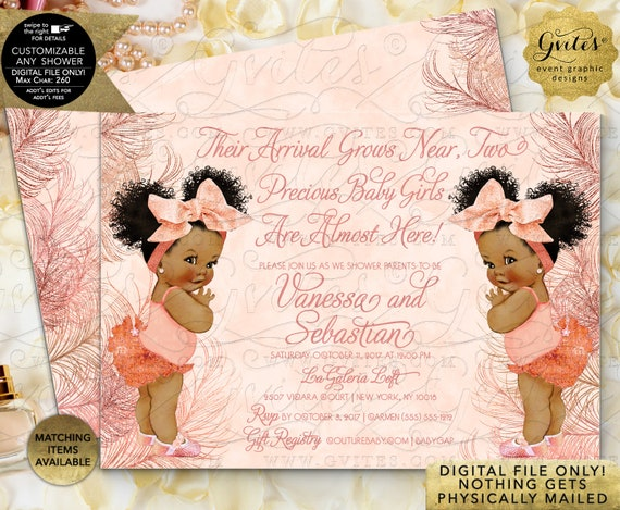 Rose Gold African American Baby Shower Twin Girls | Digital File Only! JPG + PDF By Gvites
