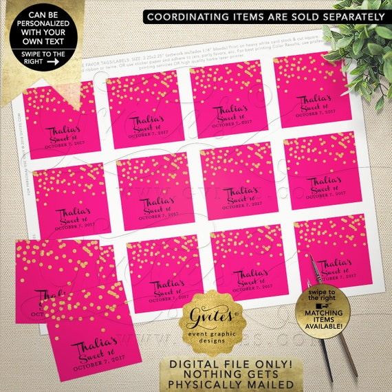 Thank you Tags/ Labels/ Favor/ Gifts For Any Event. Hot Pink & Gold Personalized Stickers | Printable JPG + PDF 2x2""